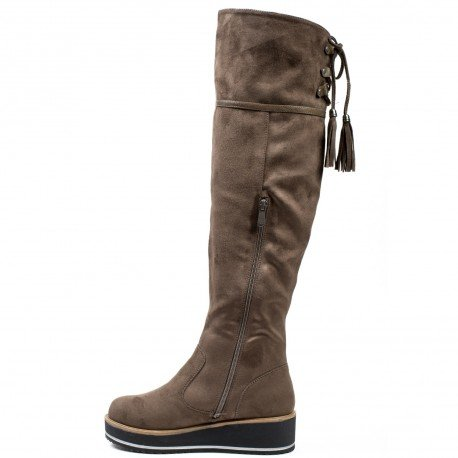 Ideal Shoes - Bottes effet daim avec semelle compensées et franges Tullia Taupe