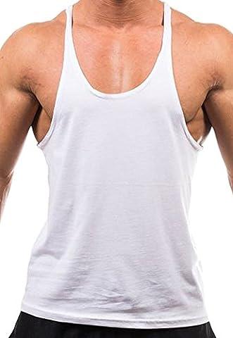 Handu Men's Blank Stringer Y Back Cotton Workout Gym Tank Tops Large White