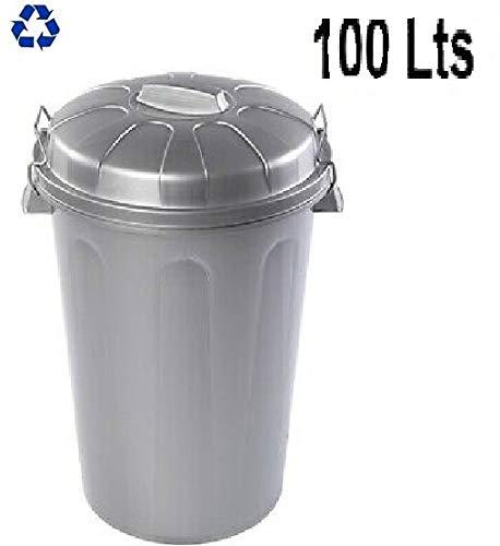 PLASTIFORTE Cubo de Basura con Tapa 100 litros basurero Gris con Asas de presión