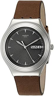 Swatch Men's Black Dial LEATHER Band Watch - YGS778, b