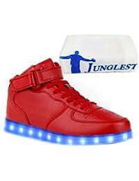 (Present:kleines Handtuch)Schwarz 40 EU Schuhe Sport Unisex Hoch Sneaker Aufladen LED für Farbwechsel Herren Turnschuhe USB mode Damen 7 Leu