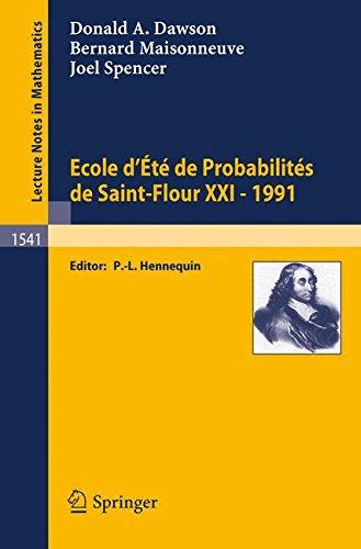 Ecole d'Eté de Probabilités de Saint-Flour XXI - 1991 par Donald A. Dawson