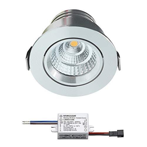 Spot LED encastrable Granada | Spot encastré/Spot encastré/Spot encastrable/Downlight | salle de bain/douche | 4 W/intensité variable/orientable / 230 V / IP54 / blanc chaud