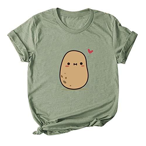 yazidan Damen T-Shirt Große Größen Niedlicher Cartoon Kartoffeln Drucken Shirts Frauen Kurzarm Rundhals Oberteil Mädchen Tops Tees Hemd Blusen S-5XL