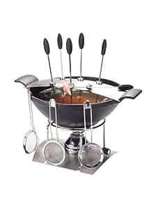 NOUVEL Service fondue à la viande COSIMA en fonte d'acier + 6 fourchettes à fondue + 6 passoires à fondue