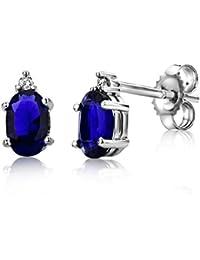 Miore Orecchini Donna Piccoli a Lobo con Diamanti taglio Brillante Zaffiro Blu Oro Bianco 9 Kt/375