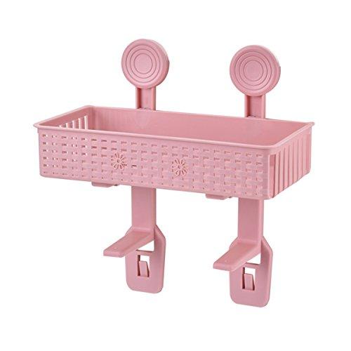 Veranstalter Große Wand-make-up (ounona Saugnapf Dusche Caddy Korb Organizer Wand montiert Küche Badezimmer Saugnapf Regal Rack (Pink))