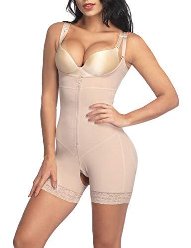 Lover-Beauty Damen open-bust-bodysuit-körper-former shapewear body Beige Medium - Bodysuit-körper-former