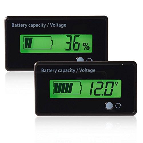 Bewinner Digitaler Leistungsmesser-Tester, LCD-Display Batteriekapazität Spannungsmessgerät Tester Voltmeter-Monitor Grünes, von hinten beleuchtetes Universal-Batteriespannungsmessgerät mit PVC-Film