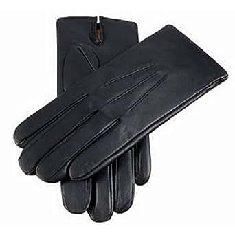 """Black Cashmere Lined Plain Leather Gloves - 9 - Dents"""