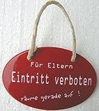 Für Eltern Eintritt verboten Emaille Email Blech Schild