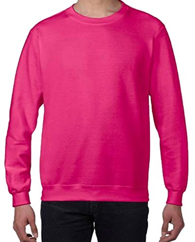 Smile YKK Rundhals Herren Herbst Basic Pullover Langarmshirt Hoodie T-Shirt Sweater-Shirt Sweat Heavy Rosa