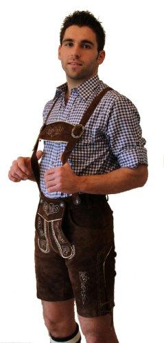 Kurze Trachten - Lederhose Farbe dunkelbraun, mit Hosenträger, Größe 58