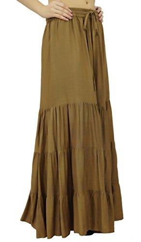 Bimba boho maxi longue Flaired jupe élastique de rayonne femmes jupes bohèmes Marron Clair