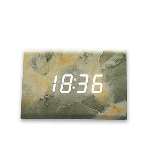 HHKLSF Holz Digital Wecker Led Snooze Dekorative Holz Wecker Schlafzimmer Marmor Textur Elektronische Tischuhr Wohnkultur