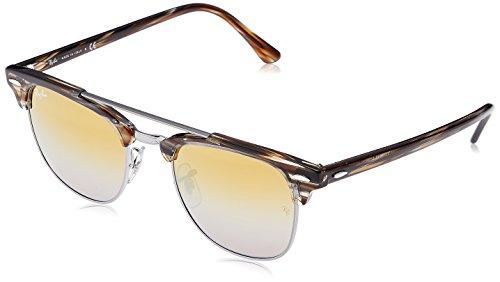 RAYBAN JUNIOR Unisex-Erwachsene Sonnenbrille Clubmaster Double Bridge Gunmetal/Brownmirrorsilvergradientg, 51