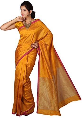 Mimosa Women Tassar Silk Saree with Blouse (3026-2013-Tuss-Gold,  Gold)