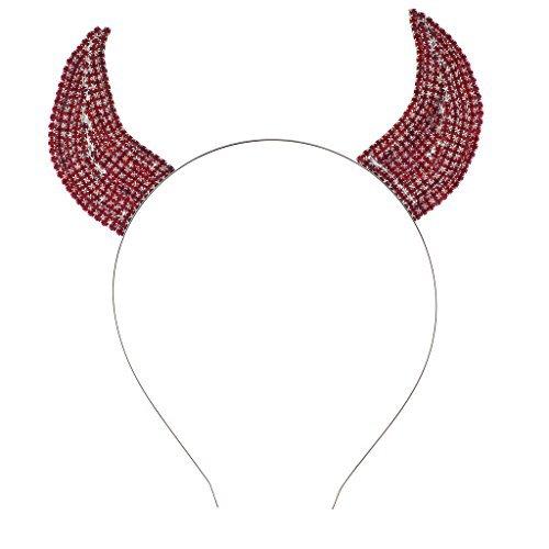 Teufelshörner aus rotem Strass und Klunker mit Stirnband, Festtagszubehör für Halloween von Lux Accessories (Halloween-stirnbänder)