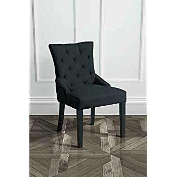 MY Furniture   High Quality Upholstered Buttoned Style Scoop Back Dining  Chair   BLACK