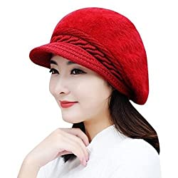 DELHI TRADERSS Womens Winter Woolen Flat Caps (Red)