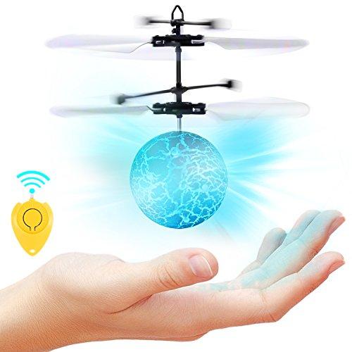 SGILE RC Fliegender Ball mit Mini Fernbedienung, LED Flying Ball mit Handsensor, Infrarot Induktion Hubschrauber Ball Flugzeug, Mini RC fliegende Kugel Drohne Helikopter,Kindergeschenk