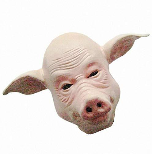 JIE Maskerade Zeigen Zubehör Halloween Schwein Gesichtsmaske Schwein Kopf Maske Schwein Maske Bald Schwein Maske,Fleisch rosa,1