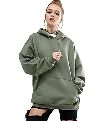 ICOCOPRO Long Sleeve Jumper Hooded Pollover Warm Woemn Sweater Hoodie Army green-S