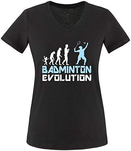 EZYshirt® Badminton Evolution Damen V-Neck T-Shirt Schwarz/Weiss/Hellbl
