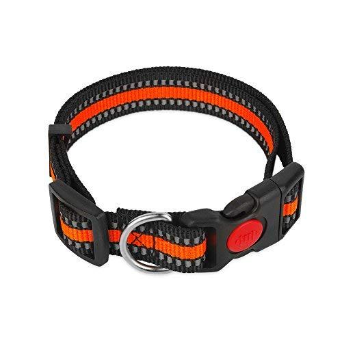 Dogibest Nacht Reflektierende Polyester Hundehalsband Verstellbare Halsbänder für Daily Walking Snap Schnalle, S, Orange Polyester-snap