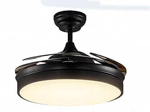LighSCH Das Restaurant Stealth Deckenventilatoren mit Beleuchtung Retro Kronleuchter mit Ventilator Home Decor Schwarz Dimmer Wand Steuerung Durchmesser (Fan-wand Steuerung)