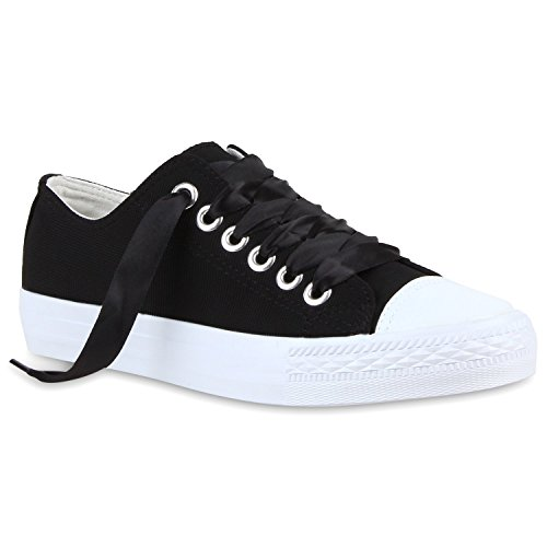 Sportliche Damen Sneakers Low Bequeme Canvas Schuhe Freizeit Schwarz