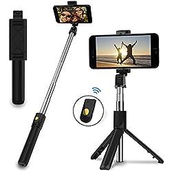 EasyULT Perche Selfie Bluetooth, Extensible Portable Selfie Stick avec Trépied Télécommande, Bâton Réglable Télescopique Rotation Support Téléphone pour Smartphones (Noir)