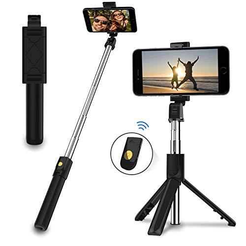 EasyULT Bastone Selfie Treppiede, 3 in 1 Estensibile Portatile Selfie Stick, Rotazione con...