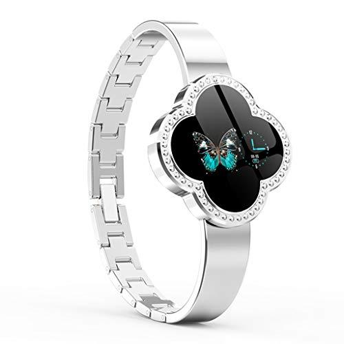 Shnnysany Fitness Tracker mit Schrittzähler Smart Armband Damen Schmuck Dekorative Herzfrequenz Blutdruck Blut Zink Legierung Uhr Schlaf Monitor (Farbe : Silber)
