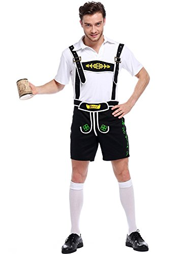 Honeystore Herren Halloween Kostüme Bedienung Uniform Cosplay Allerheiligen Kleider für Oktoberfest Schwarz (Günstige Dekorationen Piraten)