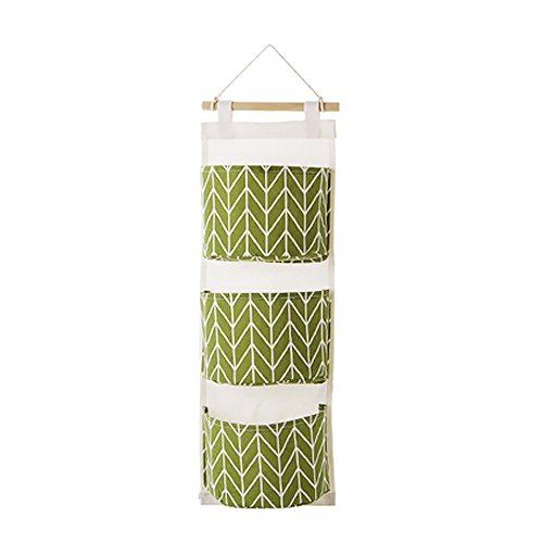 Aufbewahrungskörbe - 3 Gitter Wandbehang Aufbewahrungstasche Organizer Spielzeug Container Decor Pocket Pouch - Bad Schreibtisch Schmale Maschen Dunkel Bins Verzinkt tief Dekorative Uni (Grün) -