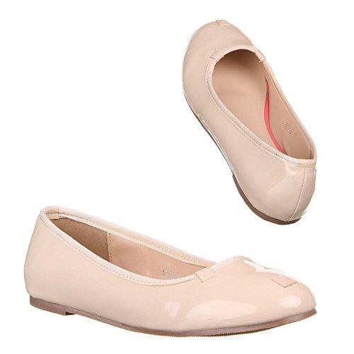 Damen Schuhe BALLERINAS SLIPPER LACKLEDEROPTIK Sommerschuhe 36 – 41 Beige