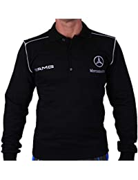Mercedes AMG Benz Polo Manga Larga Camisa Logotipo del Bordado Embroided  Blusa Lana Negro algodón 6db4a29c693e3