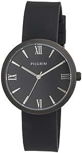Pilgrim - 701613110 - Montre Femme - Quartz - Analogique - Bracelet Silicone noir
