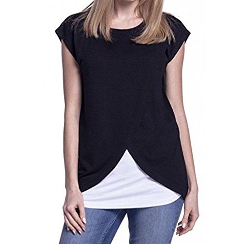 schaft Pflege T-Shirt Wickeln Oben Deckel Ärmel Doppelschicht Bluse Pullover Sweatshirt Crew Neck Tops Frauen Casual Stillen Shirt Zurück (S, Schwarz) (Zurück Bekleidung)