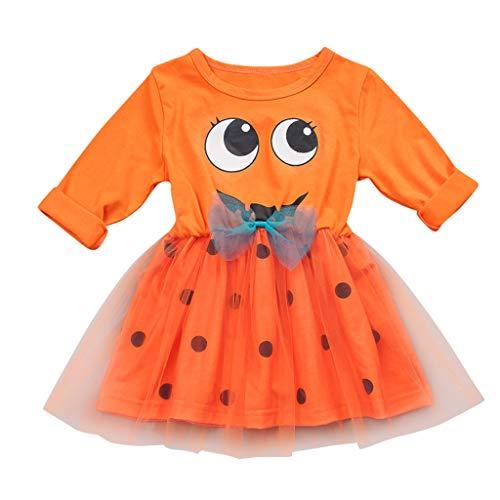 Allence Kinder Halloween Kostüm Top Set Baby Kleidung Set Kleinkind Kinder Baby Mädchen Kürbis Striped Print Langarm Halloween Kleid + Stirnbänder gesetzt Skelett