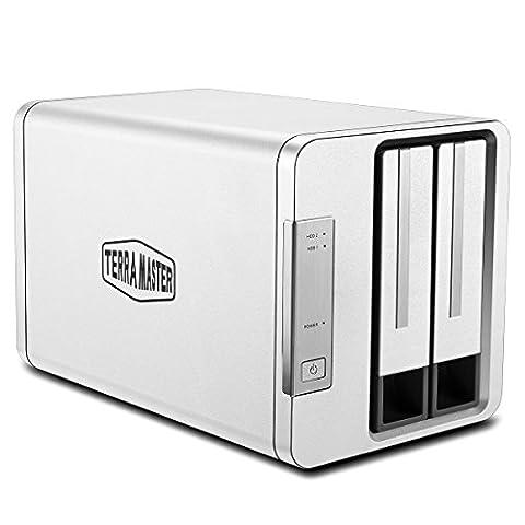 TerraMaster D2-310 Boîtier Disque dur externe en Aluminium 2 baies RAID pour 2.5'' et 3.5'' HDD, SSD(2x 8To) USB3.1/USB3.0