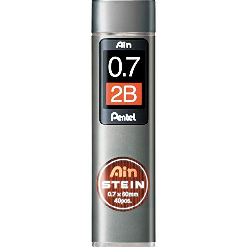 Pentel C277-2BO - Recambio de Minas para portaminas (0,7 mm 2B), negro