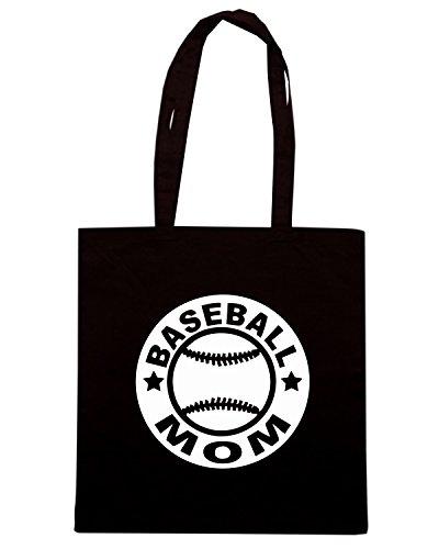 T-Shirtshock - Borsa Shopping FUN0704 baseball mom circular diecut vinyl decal 08939 Nero