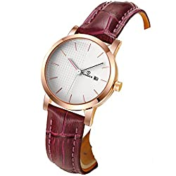 Ladies leather strap watch/Waterproof quartz watches/Simple students watch calendar-C