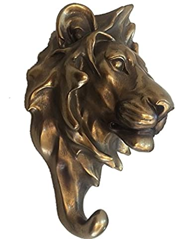 Lion Head Coat Hook, Decorative Wall Accessory Painted Antique Bronze Finish H21cm