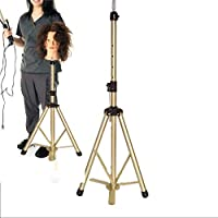 Zhuowei Training Heads Tripod Adjustable Wig Head Stand Height Adjustable Swivel Beauty Mannequin Head Holder Tripod Stand Doll Head Stand with Portable Bag for Hairdressing Training