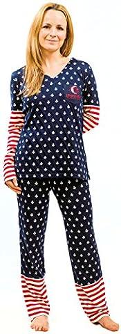 Loonatik Pyjama pour femme 100% coton Confortable et élégant Tailles: S, M, L, XL - multicolore - Large