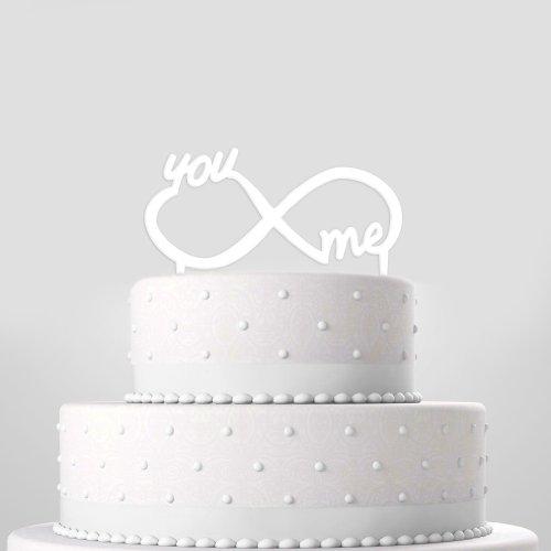 Tortendekoration zur Hochzeit 'Unendliche Liebe' weiß