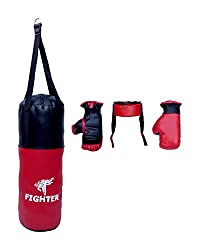 Fighter Synthetic Complete Set of Boxing kit for Kids' Large (Red and Black) (Boxing Bag, Head Guard, Boxing Gloves)